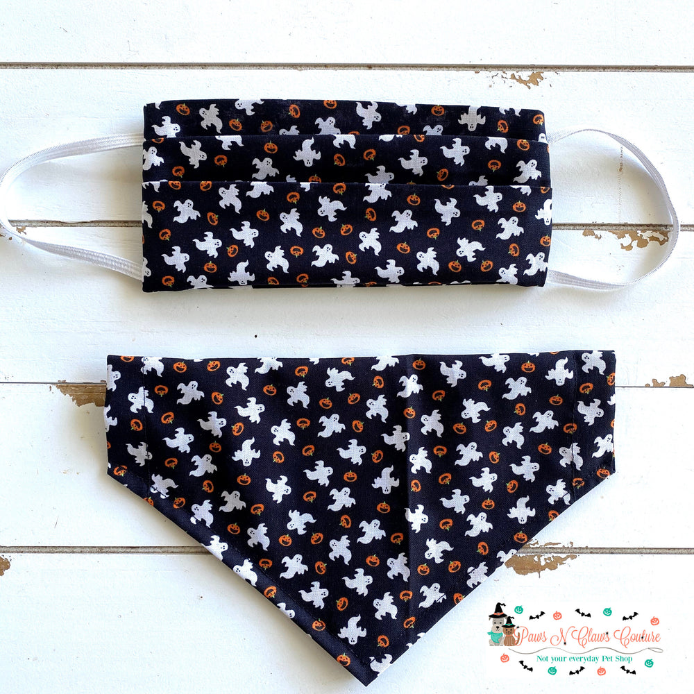 Ghosts and Pumpkins Mask, Matching Bandana (Each Sold Separately, not sold as a set) - Paws N Claws Couture