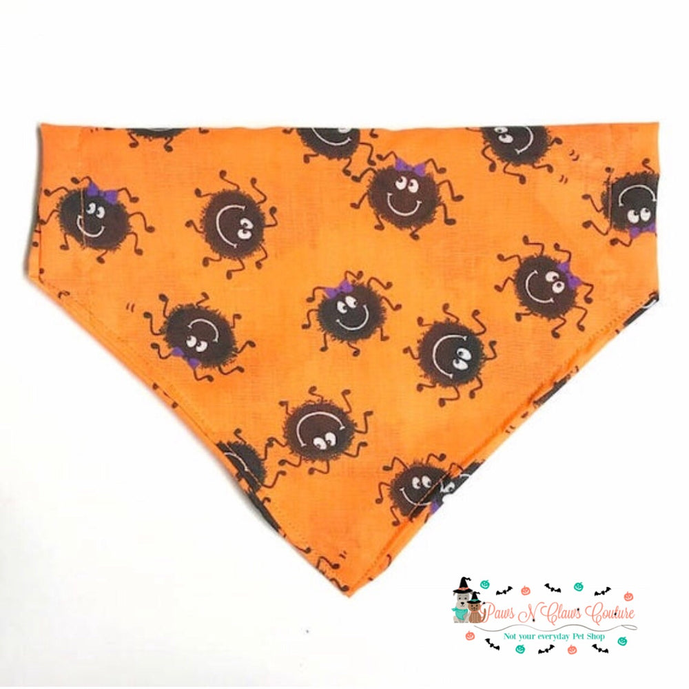 Spiders on orange Bandana - Paws N Claws Couture