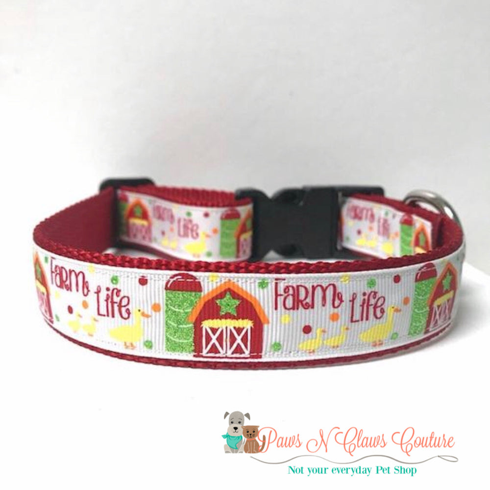 "1"" Farm life Dog Collar - Paws N Claws Couture"
