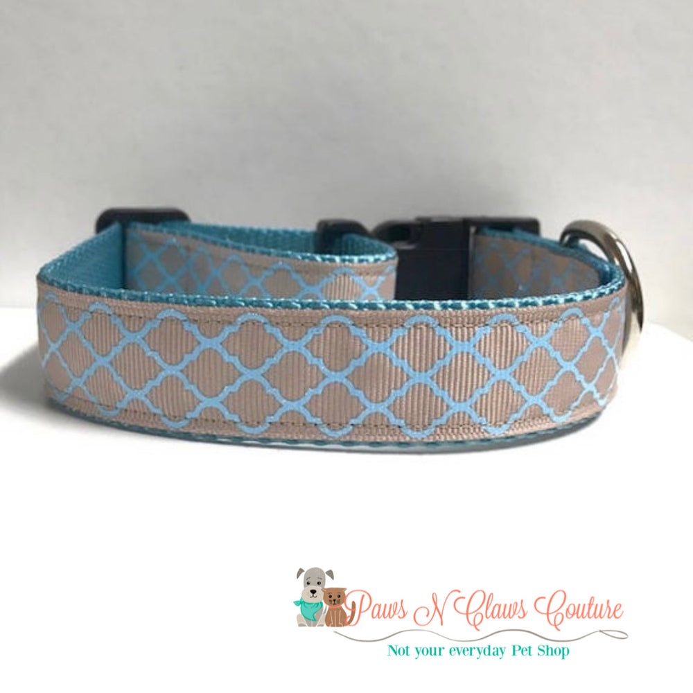 "1"" Blue quarterfoil Dog Collar - Paws N Claws Couture"