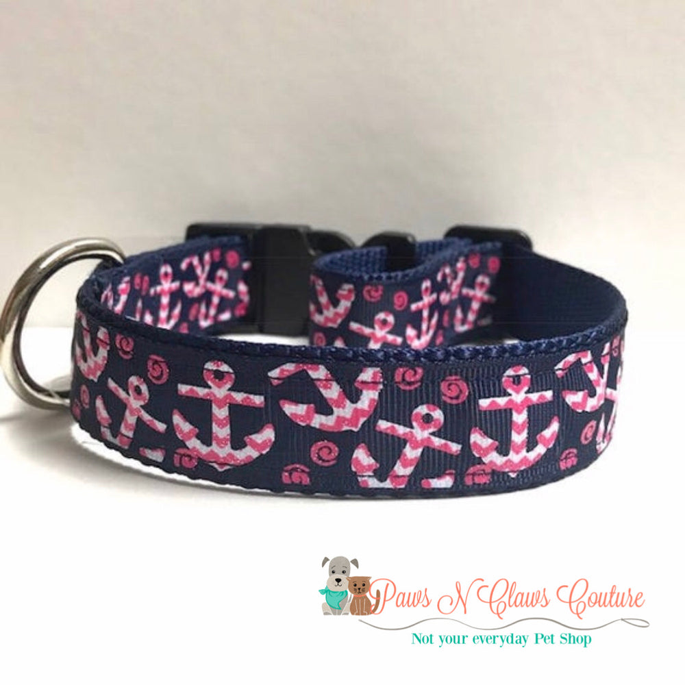 "1"" Chevron anchors on navy Dog Collar - Paws N Claws Couture"