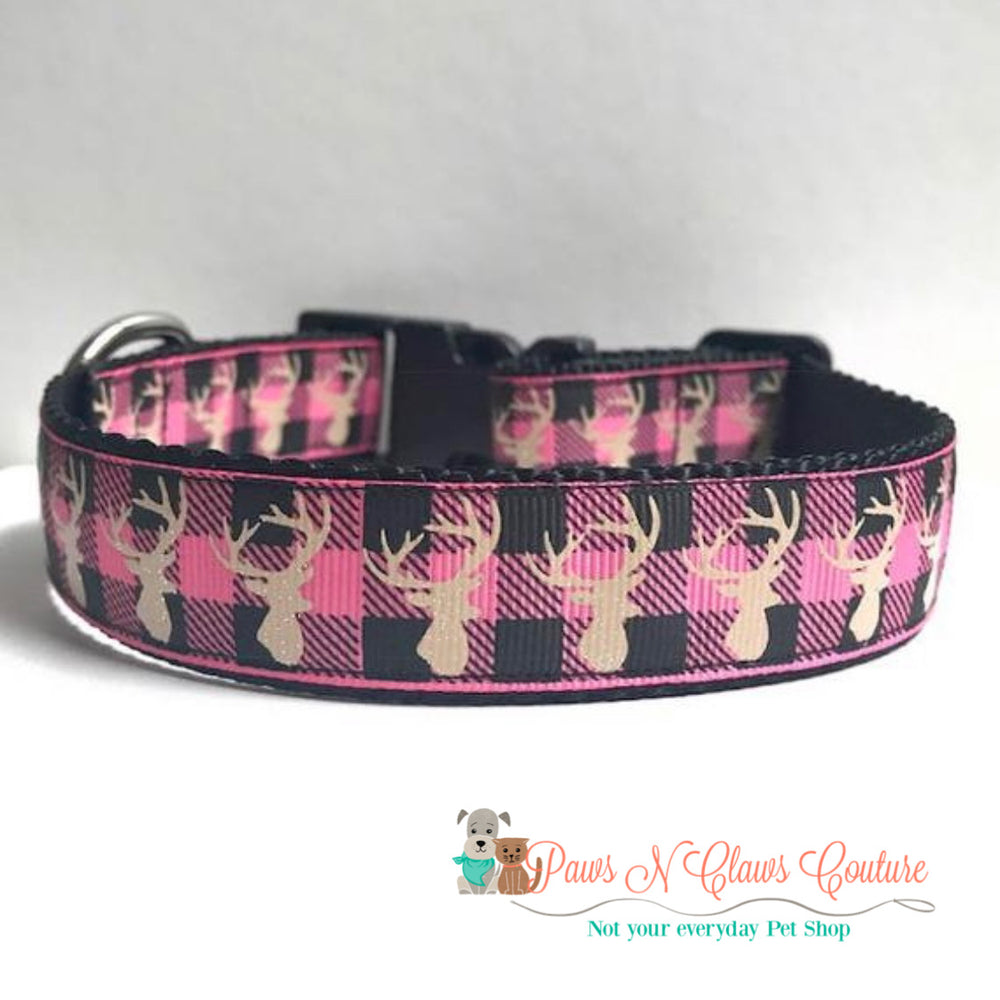 "1"" Plaid deer on pink Dog Collar - Paws N Claws Couture"