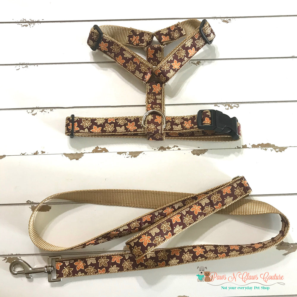 "1"" Glitter Leaves Dog Harness, Leash Available"