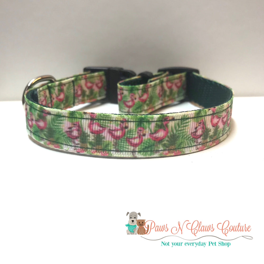 "5/8"" Tropical Flamingos Dog Collar - Paws N Claws Couture"