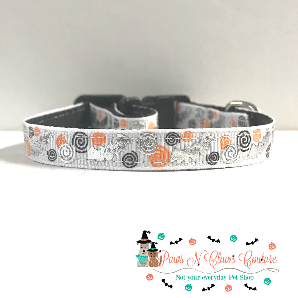 "3/8"" Bats and swirls Cat or Small Dog Collar"