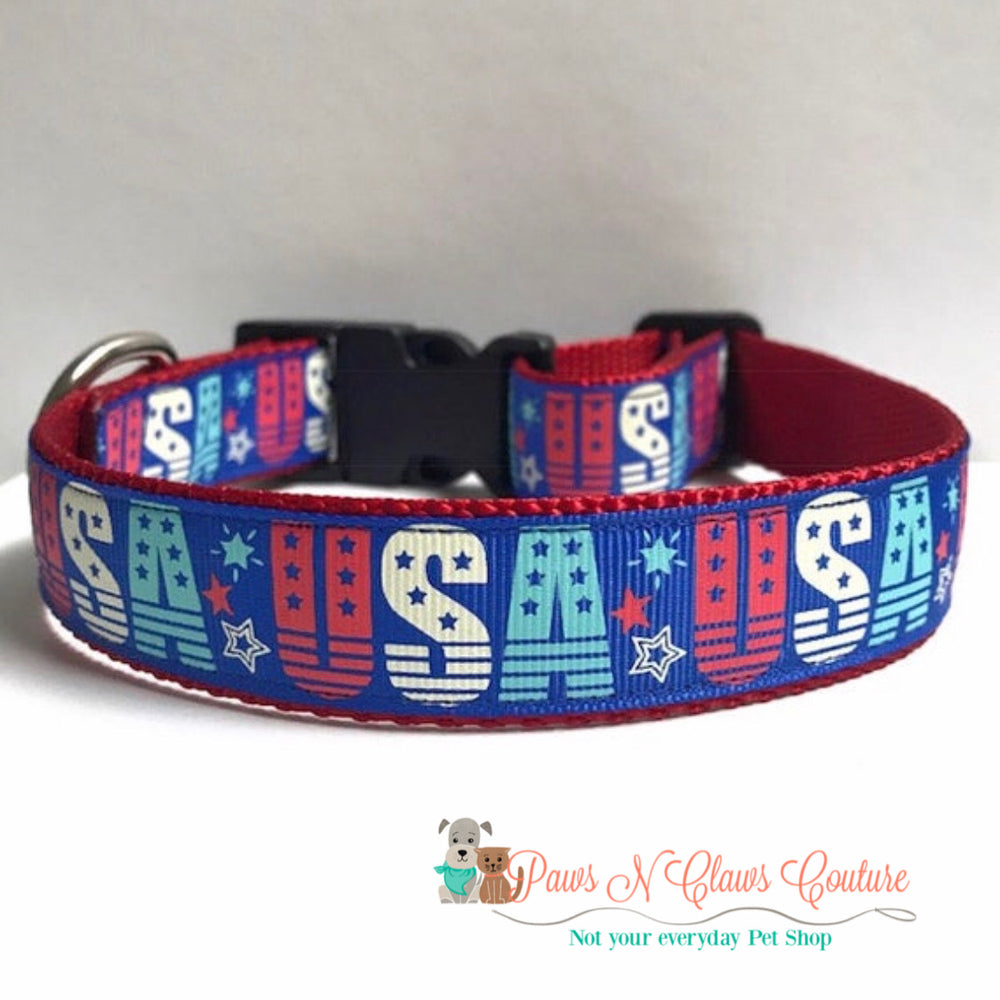 "1"" USA and stars Dog Collar - Paws N Claws Couture"