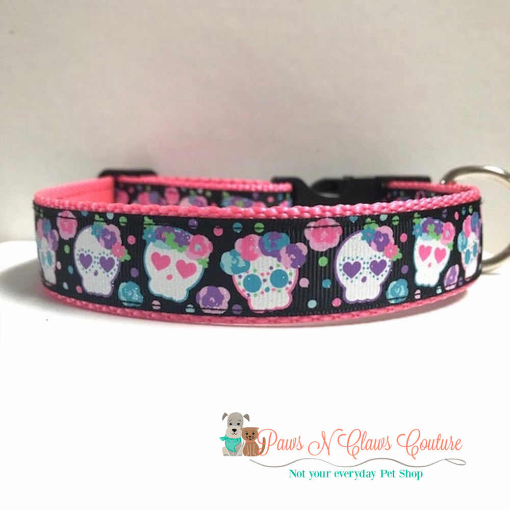 "1"" Sugar skulls and flowers Dog Collar - Paws N Claws Couture"