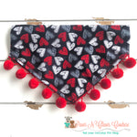 Chalkboard hearts with poms Bandana