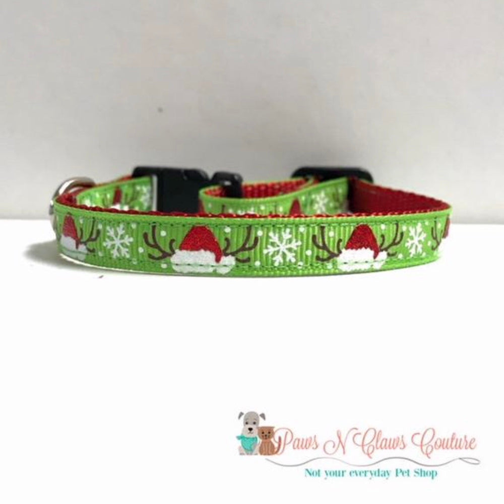 "3/8"" Antlers on green Cat or Small Dog Collar - Paws N Claws Couture"
