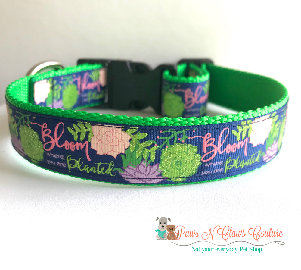 "1"" Bloom where you are planted on navy Dog Collar - Paws N Claws Couture"