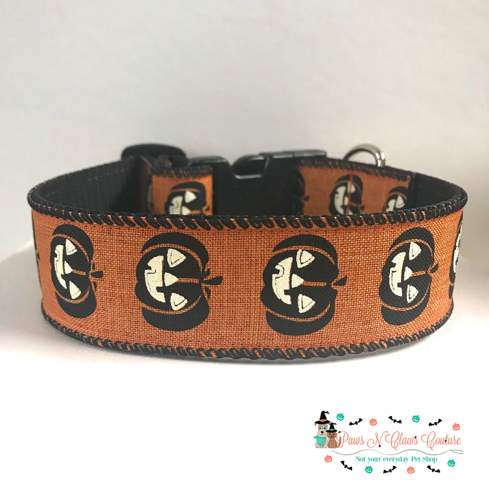 "1.5"" Jack O Lantern Dog Collar - Paws N Claws Couture"