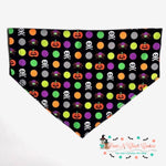 Polka dot pumpkins and skulls Bandana - Paws N Claws Couture