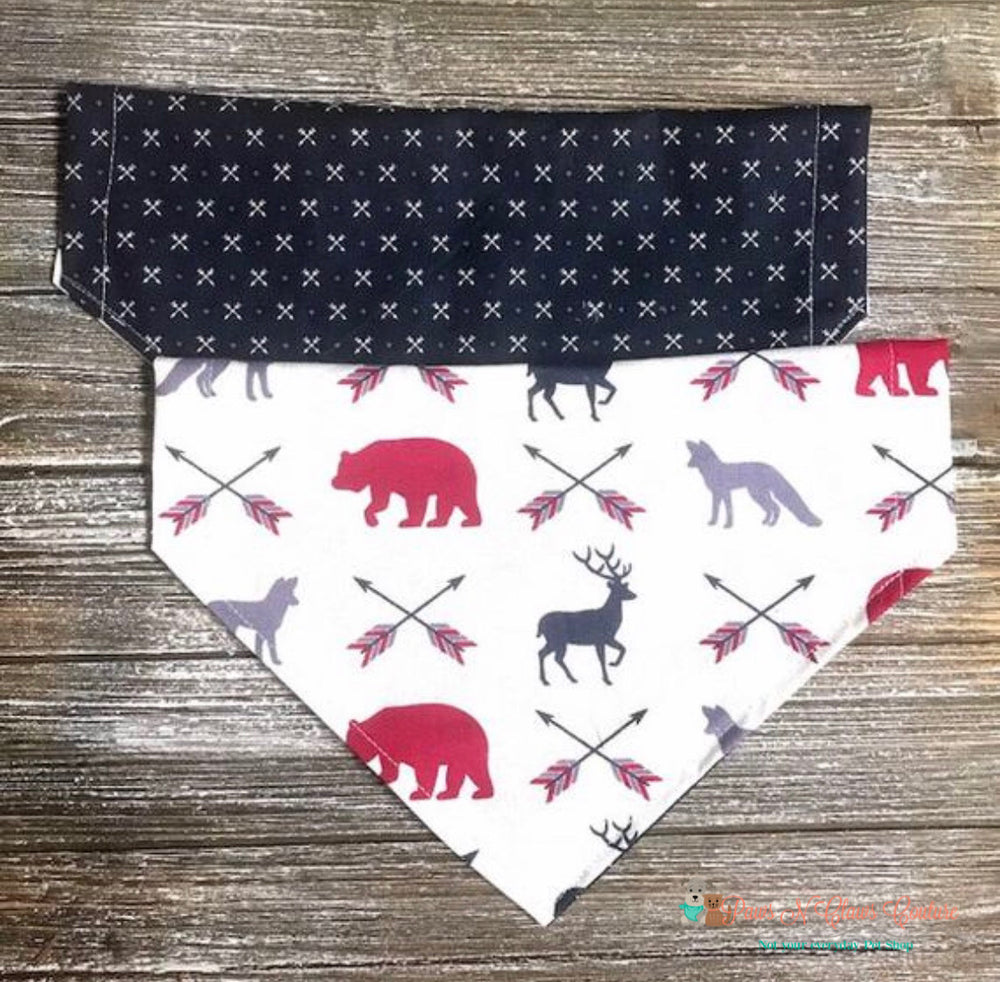 Reversible Crossed Arrows and Wildlife Bandana - Paws N Claws Couture