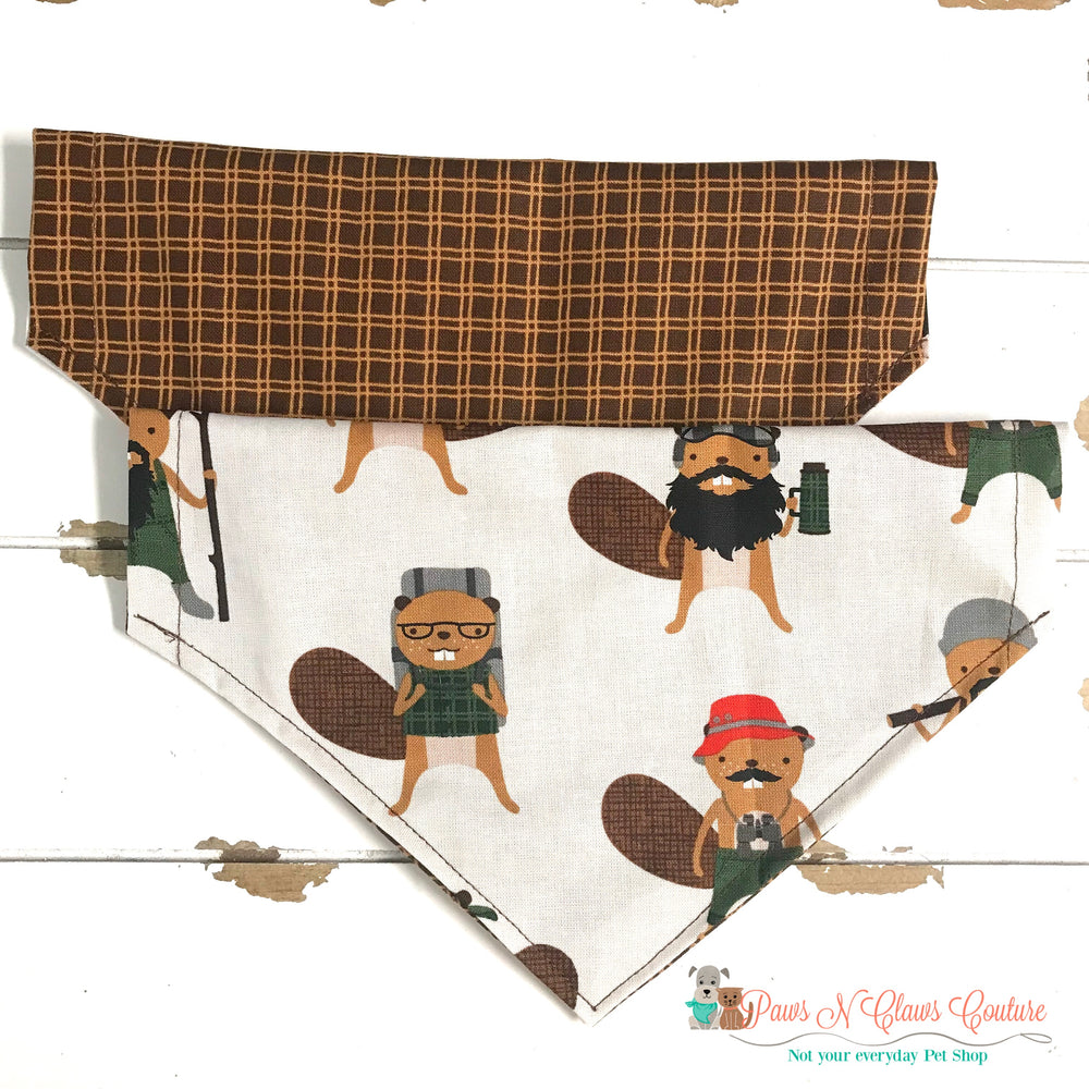 Reversible plaid and burly beavers Bandana - Paws N Claws Couture