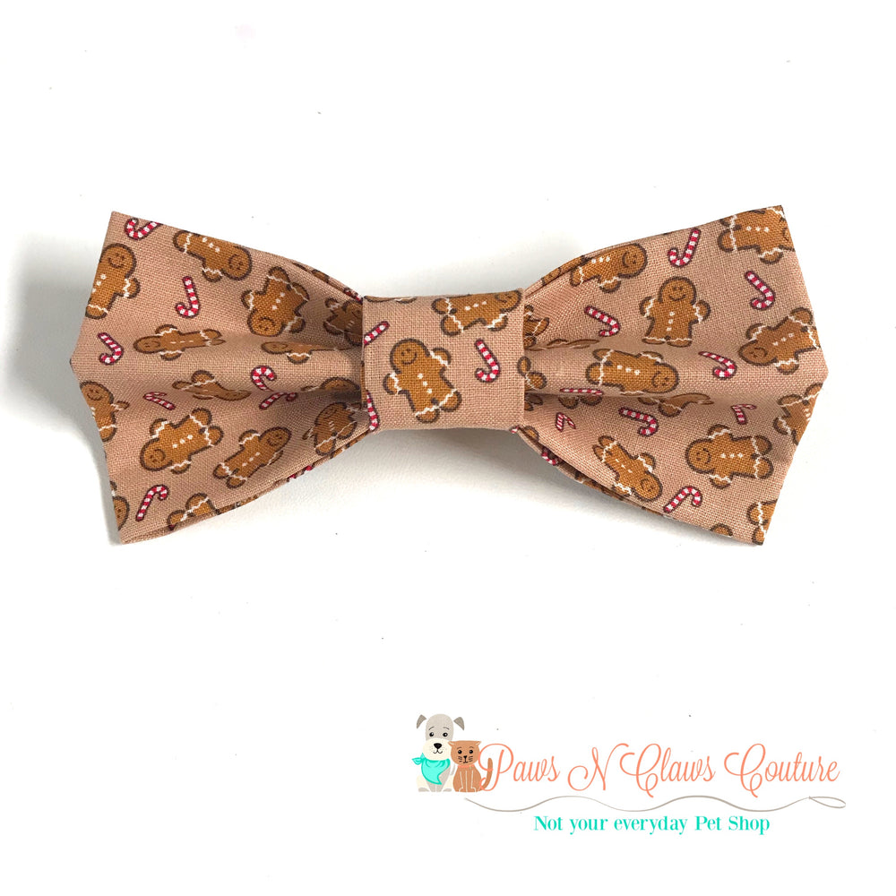 Gingerbread man and candy canes Bow Tie - Paws N Claws Couture