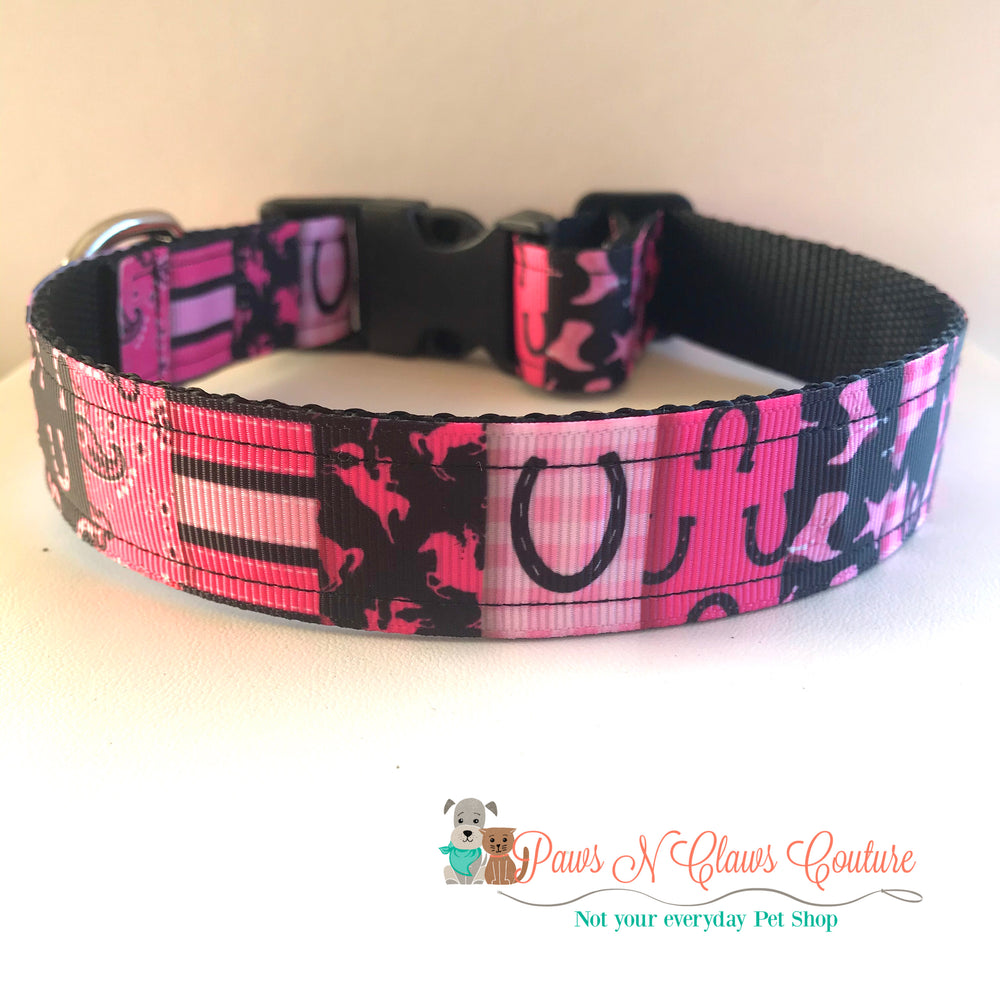 "1"" Pink, western patchwork Dog Collar, Leash Available"
