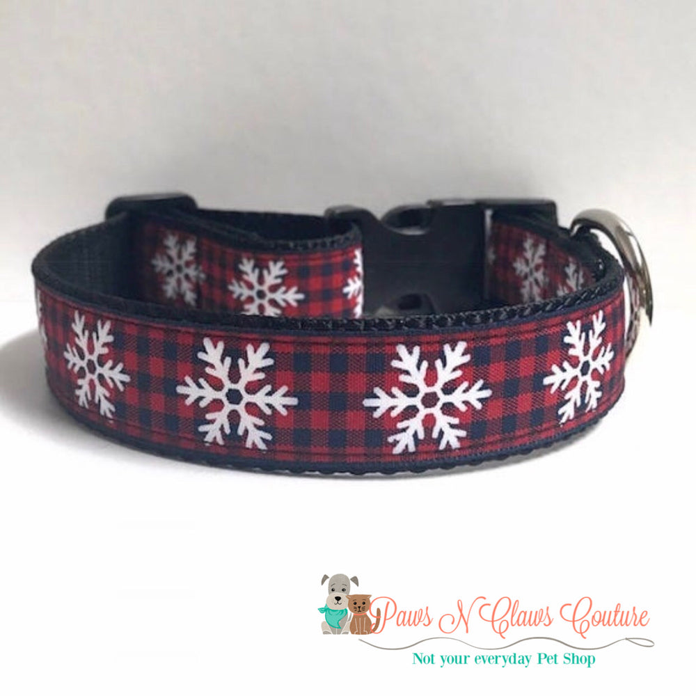 "1"" Snowflakes and plaid Dog Collar, Leash Available"