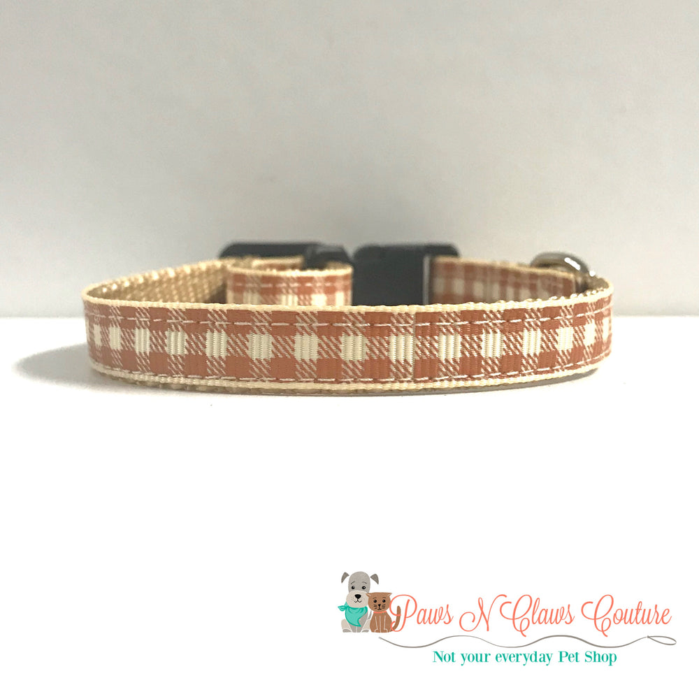 "3/8"" Fall tan plaid Cat or Small Dog Collar"