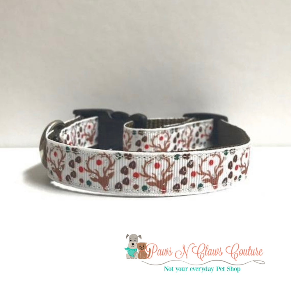 "5/8"" Reindeer and tracks Dog Collar - Paws N Claws Couture"