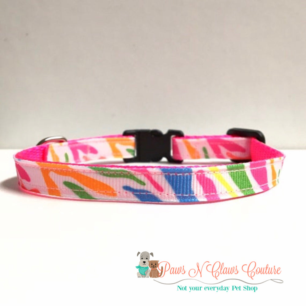 "3/8"" Neon zebra stripes Cat or Small Dog Collar - Paws N Claws Couture"