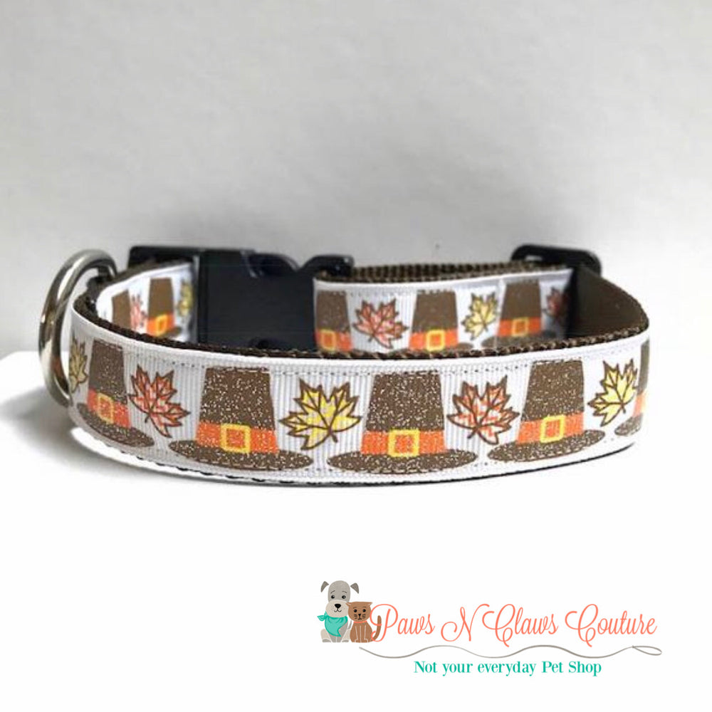 "1"" pilgrim hats Dog Collar"