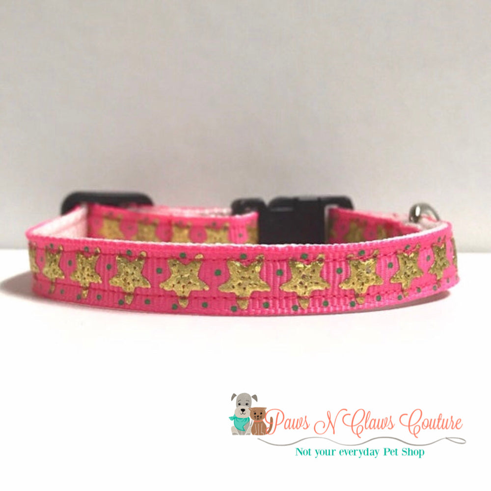 "3/8"" Pink & Gold starfish Cat or Small Dog Collar - Paws N Claws Couture"