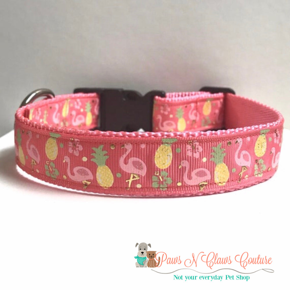"1"" Flamingo and pineapples Dog Collar - Paws N Claws Couture"