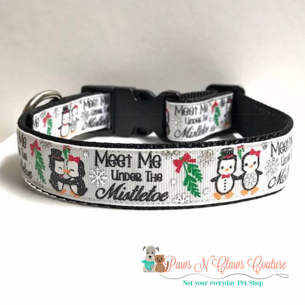 "1"" meet me under the mistletoe Dog Collar - Paws N Claws Couture"