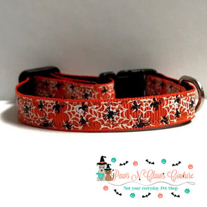"""3/8"""" Spiders on webs Cat or Small Dog Collar"""