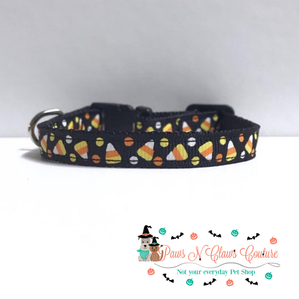 "3/8"" Candy Corn and dots Cat or Small Dog Collar - Paws N Claws Couture"