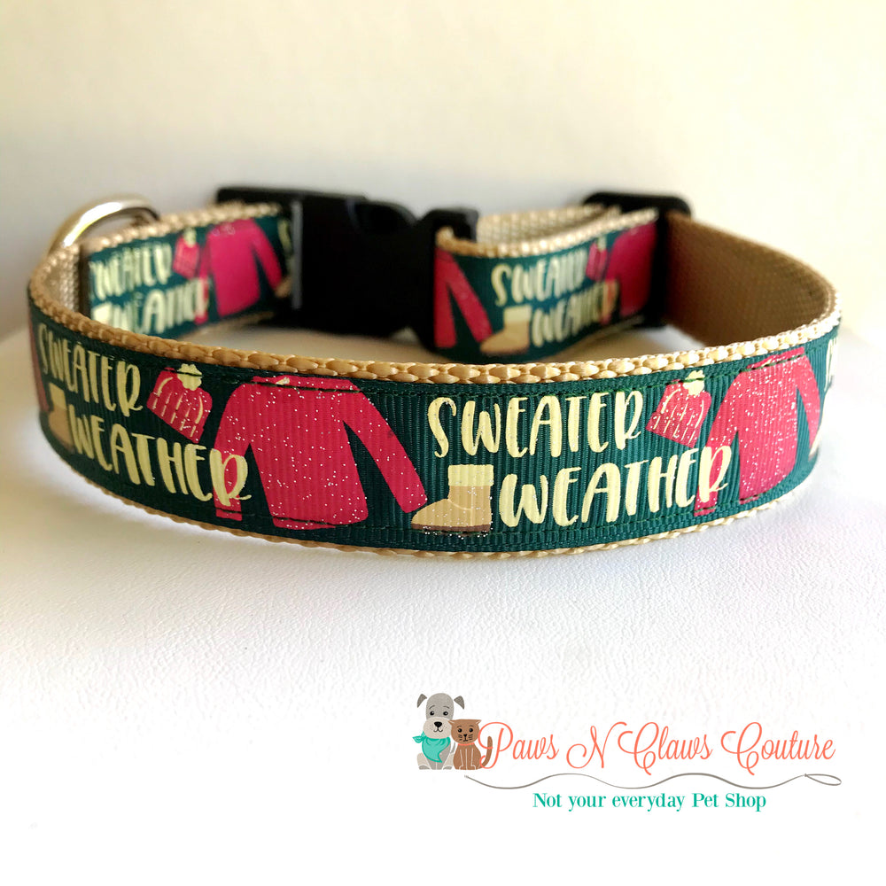 "1"" Sweater weather Dog Collar - Paws N Claws Couture"