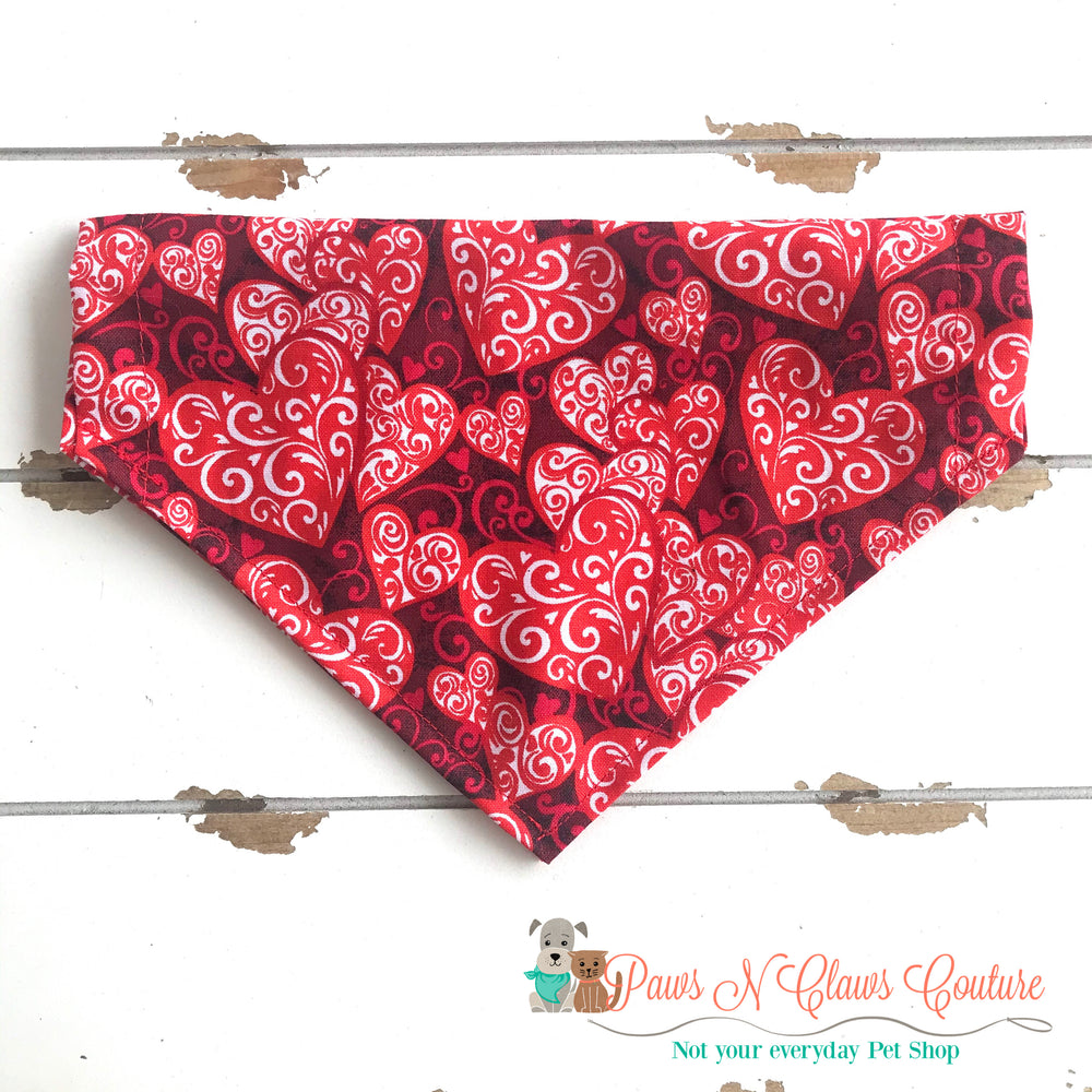 Valentine's Day hearts Bandana - Paws N Claws Couture