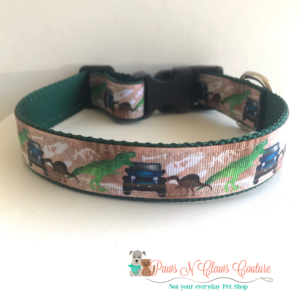"1"" Dinosaur adventure Dog Collar - Paws N Claws Couture"