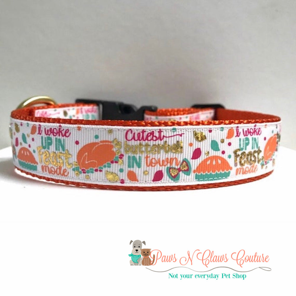 "1"" I woke up in feast mode, cutest butterball in town Dog Collar - Paws N Claws Couture"