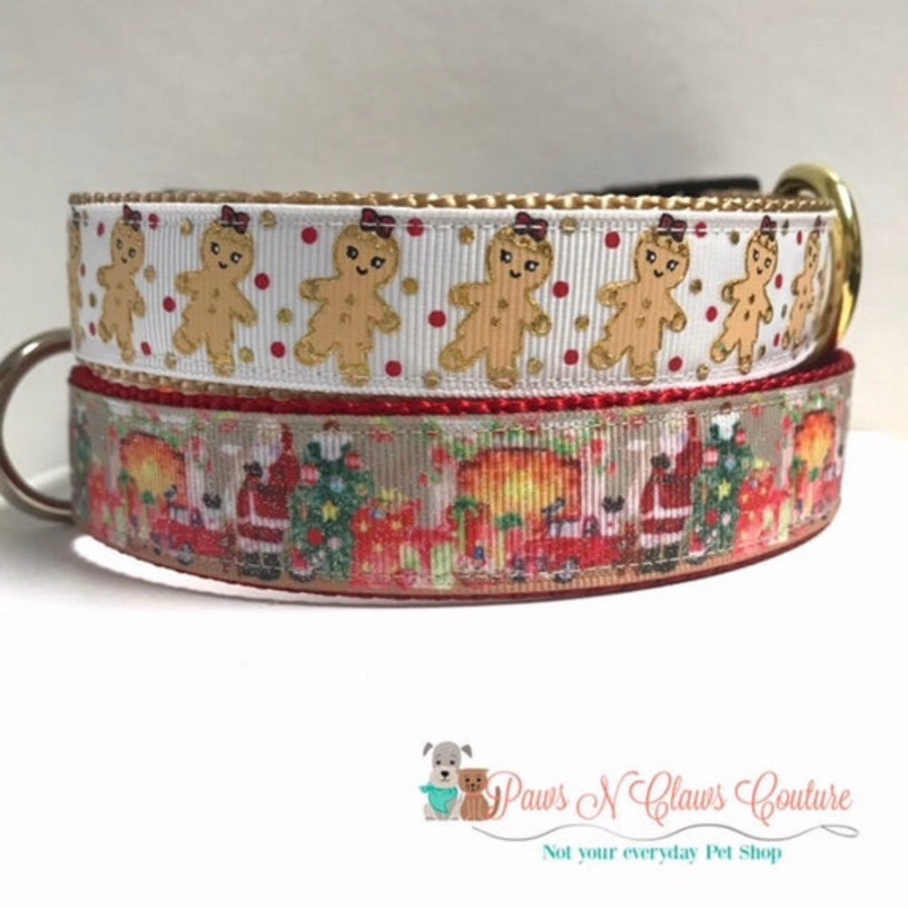 "1"" Gingerbread or Santa Dog Collar"