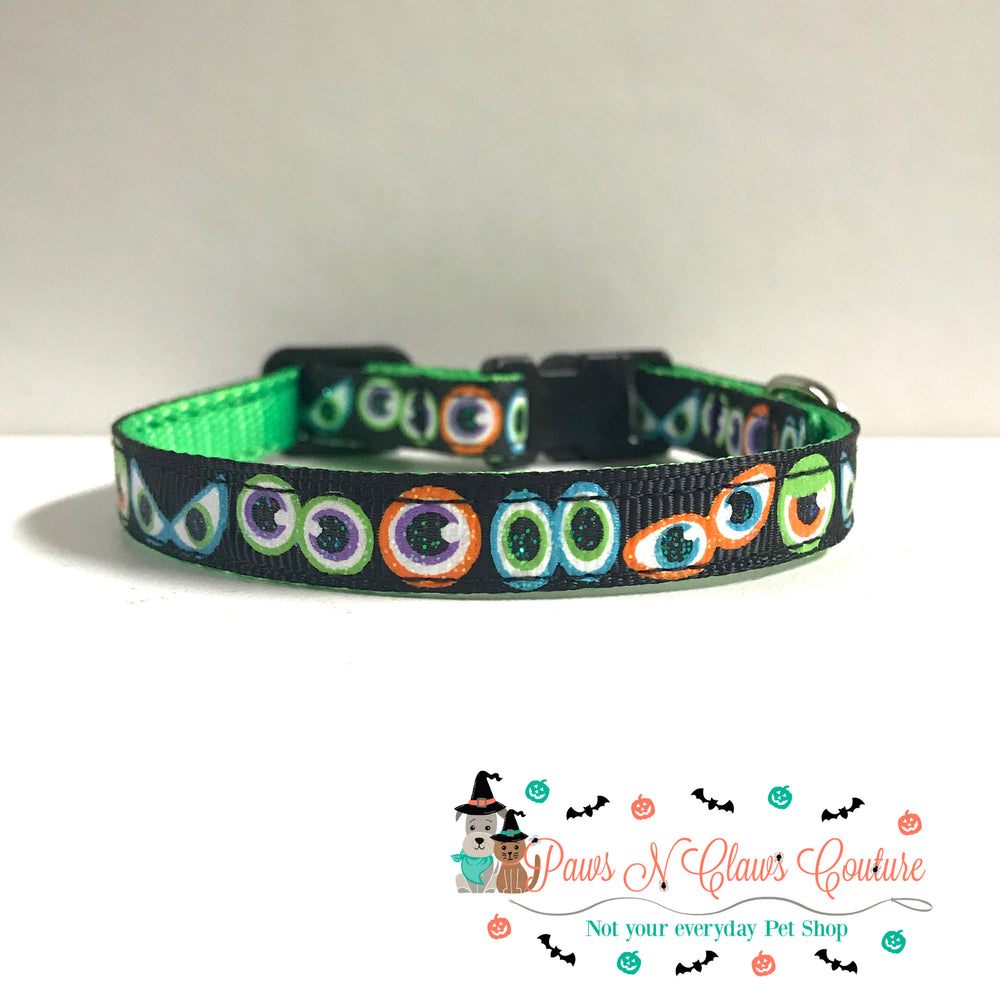 "3/8"" Spooky eyes Cat or Small Dog Collar - Paws N Claws Couture"