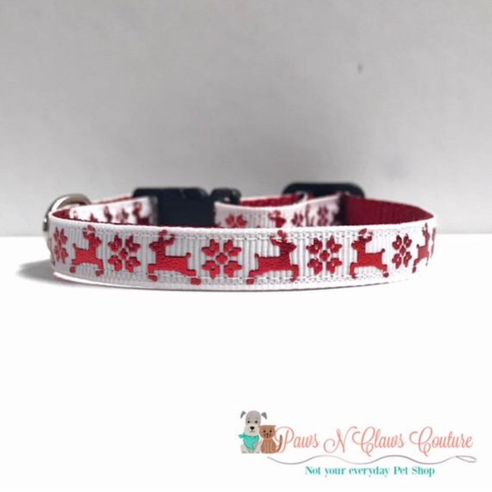 "3/8"" Reindeer and snowflakes Cat or Small Dog Collar - Paws N Claws Couture"