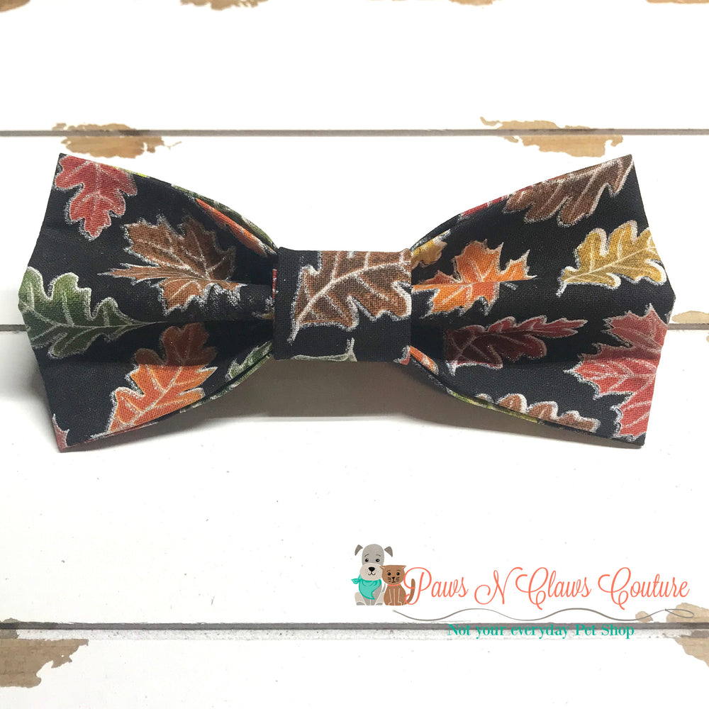 Fall leaves on black Bow Tie - Paws N Claws Couture