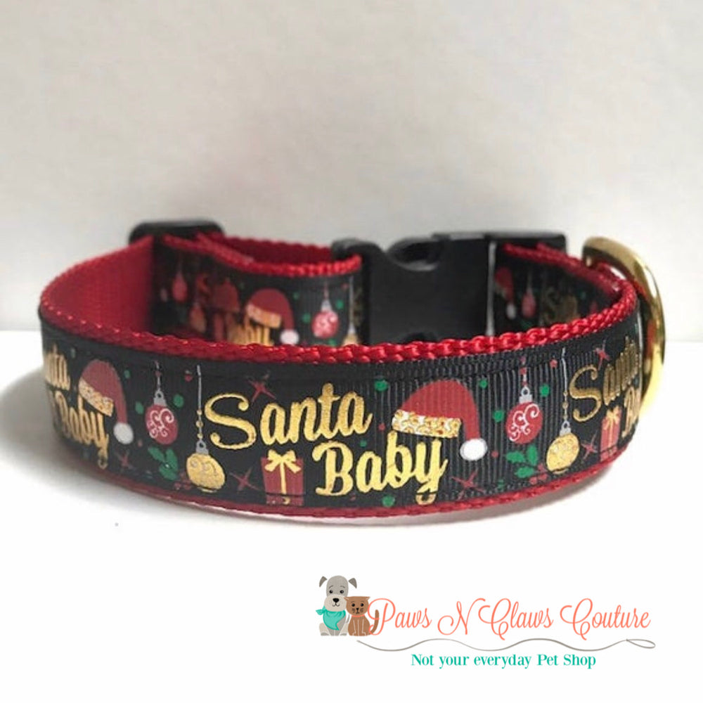 "1"" Santa Baby in black Dog Collar"