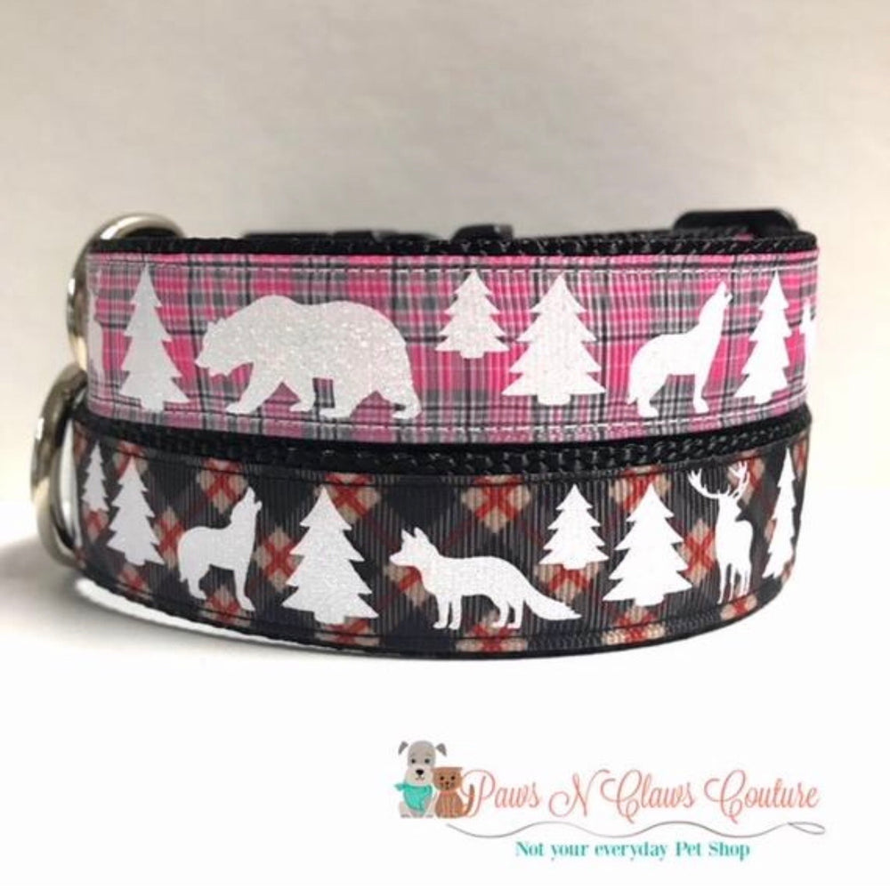 "1"" pink/grey or red/black winter animals Dog Collar"