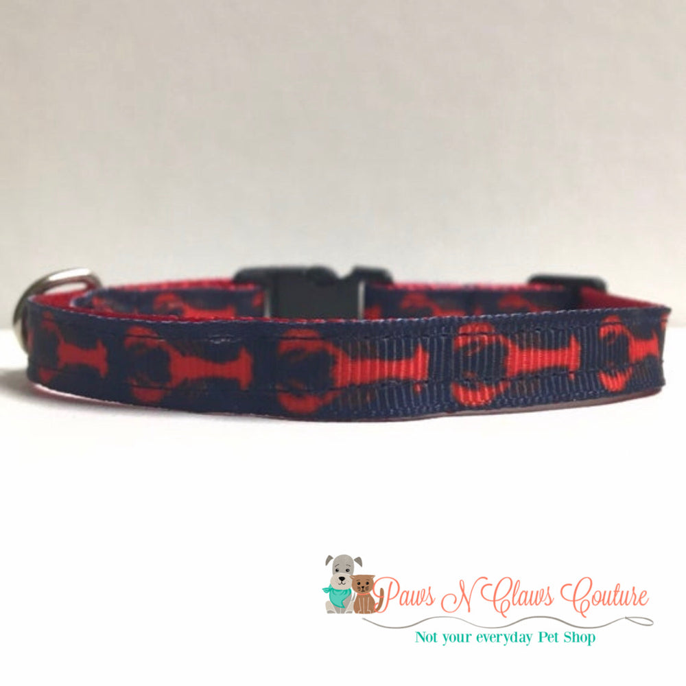 "3/8"" Lobsters on Navy Cat or Small Dog Collar - Paws N Claws Couture"