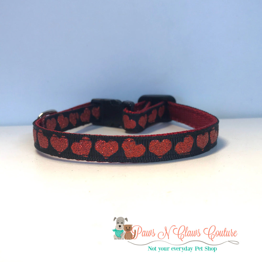 "3/8"" Red hearts on black Cat or Small Dog Collar - Paws N Claws Couture"