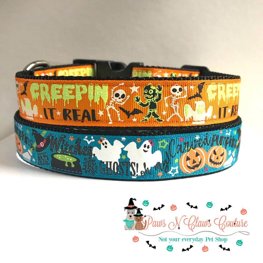 "1"" Creepin it real or witches and ghosts Dog Collar - Paws N Claws Couture"