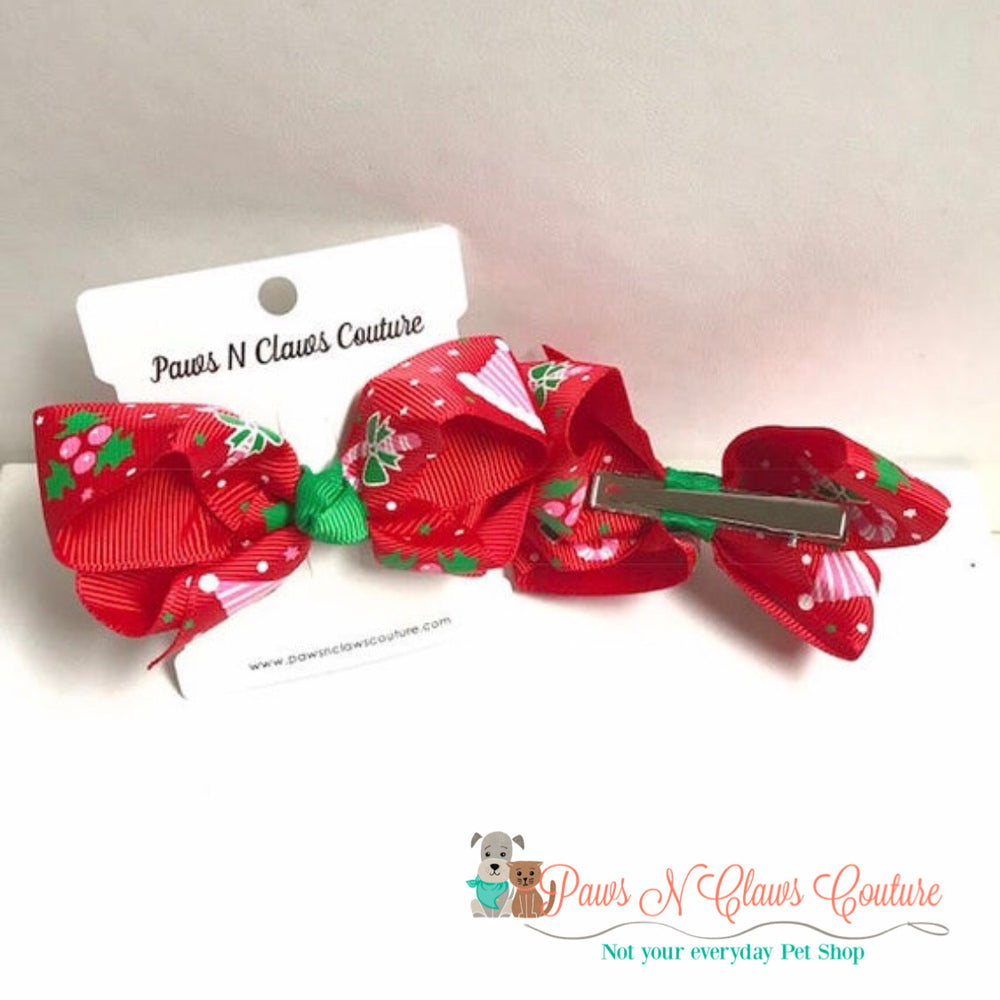 Santa hat and holly hair clip - Paws N Claws Couture