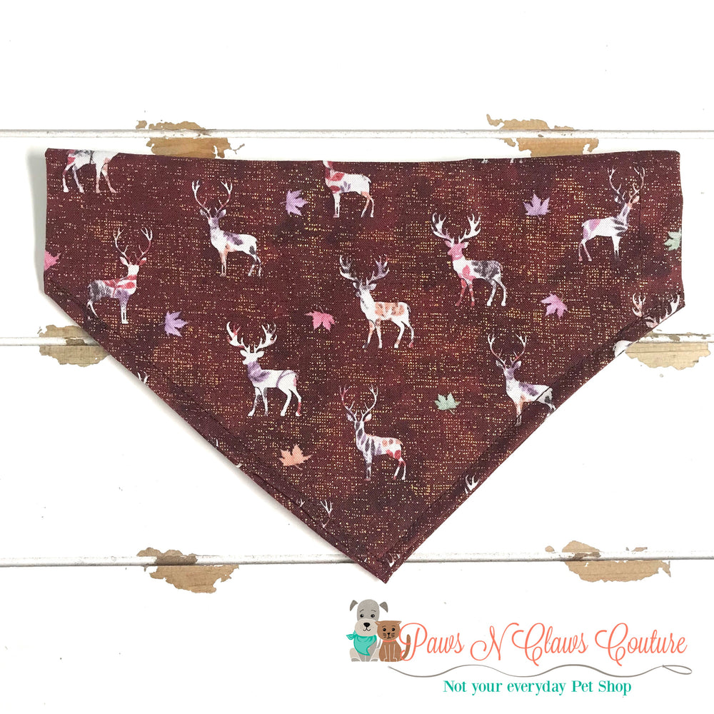 Deer and fall leaves Bandana - Paws N Claws Couture