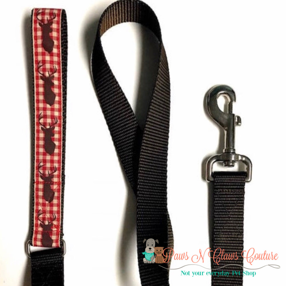 "1"" Deer and plaid Dog Collar, Leash Available - Paws N Claws Couture"