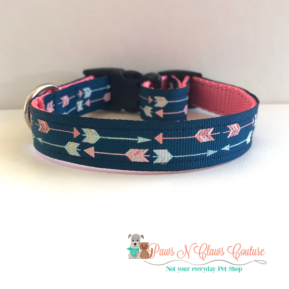 "5/8"" Arrows on navy Dog Collar - Paws N Claws Couture"