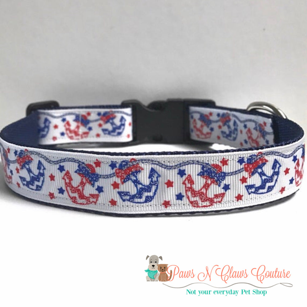 "1"" Blue & red anchors Dog Collar - Paws N Claws Couture"