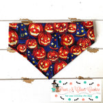 Happy Jack O Lanterns and witch hate Bandana - Paws N Claws Couture