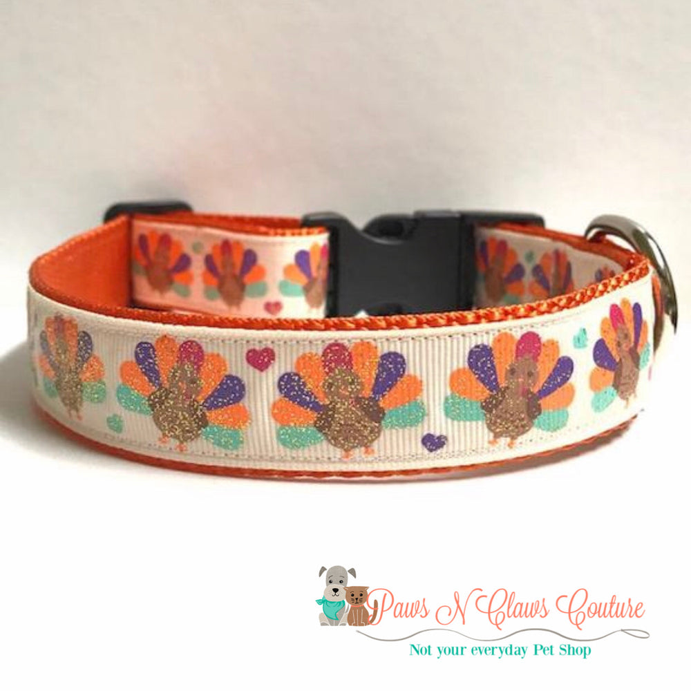 "1"" Glitter turkeys and hearts Dog Collar - Paws N Claws Couture"